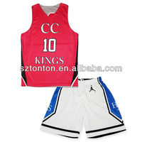 cheap custom sublimated red basketball tops and white bottoms