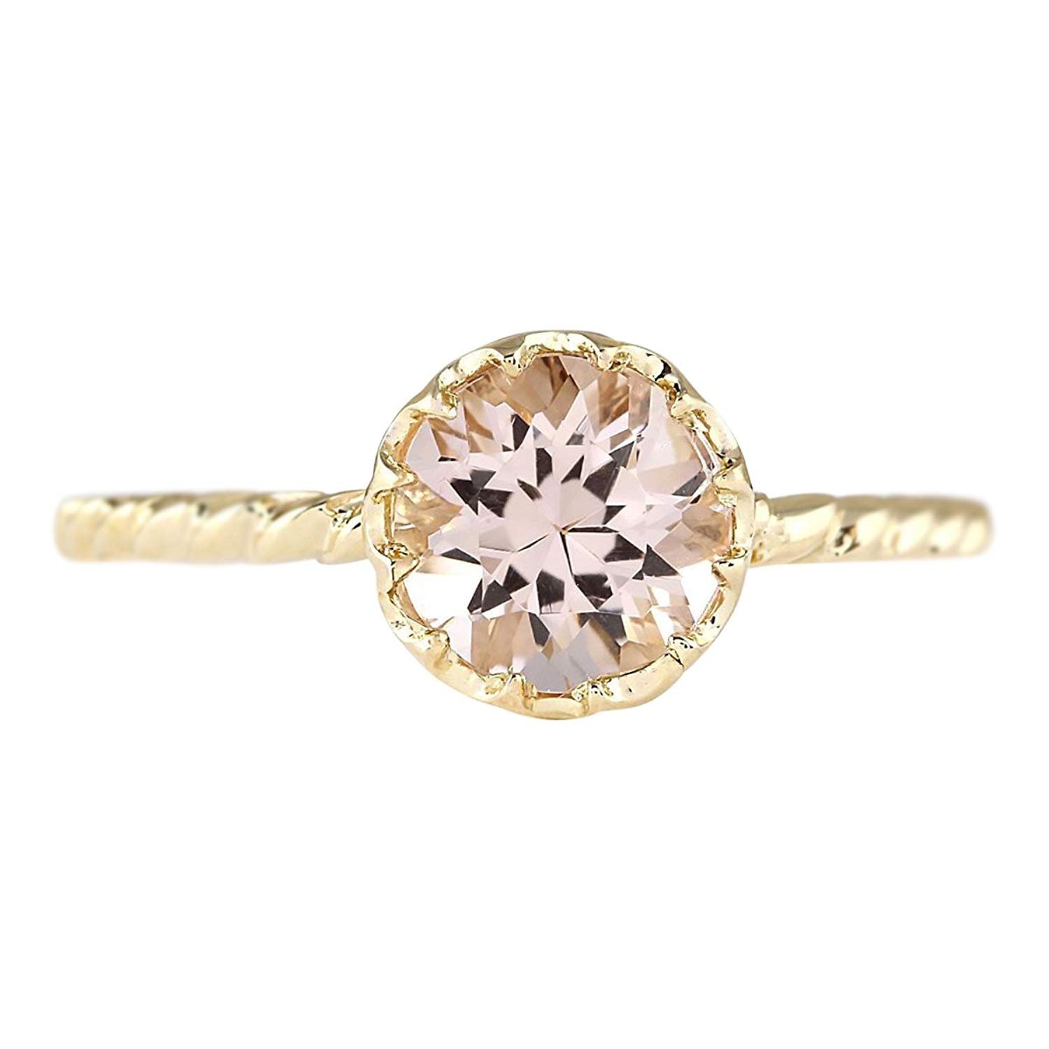 Get Quotations 1 2 Carat Natural Pink Morganite 14k Yellow Gold Solitaire Promise Ring For Women Exclusively Handcrafted In