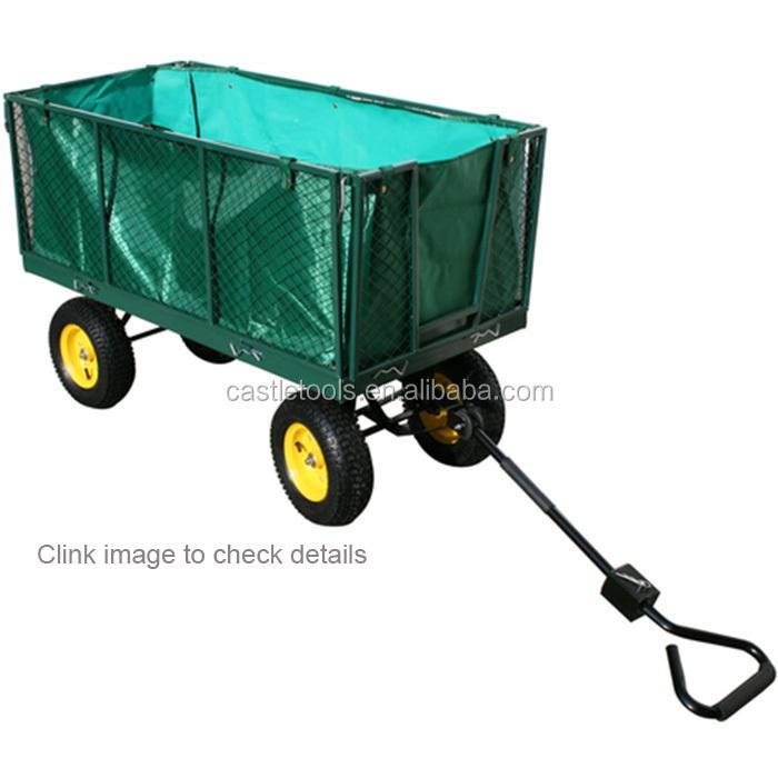 heavy duty 300kg load capacity 4 Wheel Steel Wagon Hand Garden Beach Trolley Mesh Cart