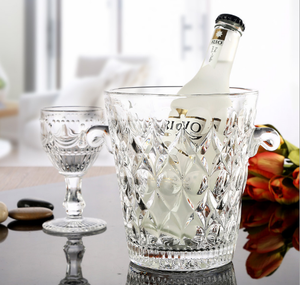 Embossed clear glass ice bucket with ear