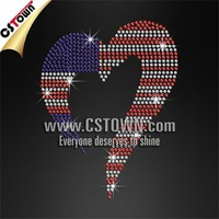Bling Hotfix Rhinestone Iron-On Transfer Templates Heart With American Flag