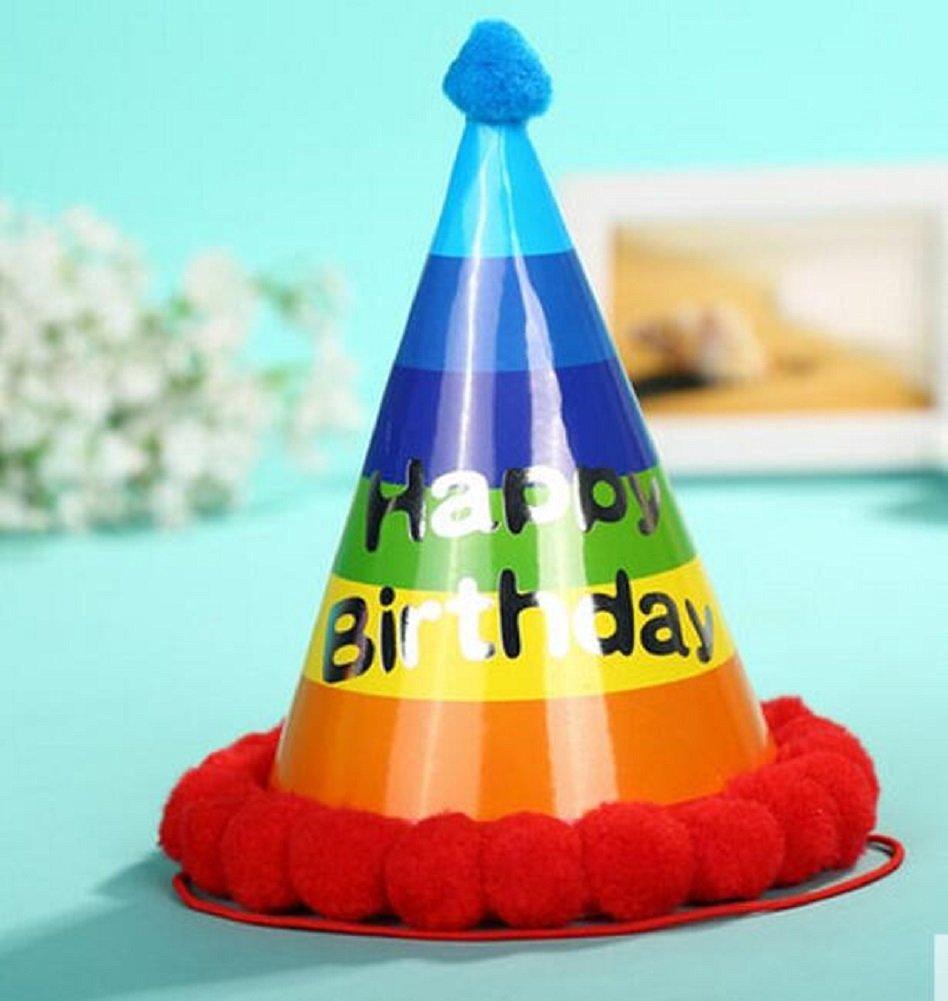 Red Cherry 8ct Happy Birthday Rainbow Hats Fluffy Ball