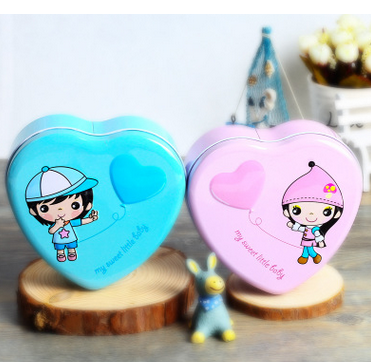 Unique design packing wedding gift candy metal heart shape tin box OEM