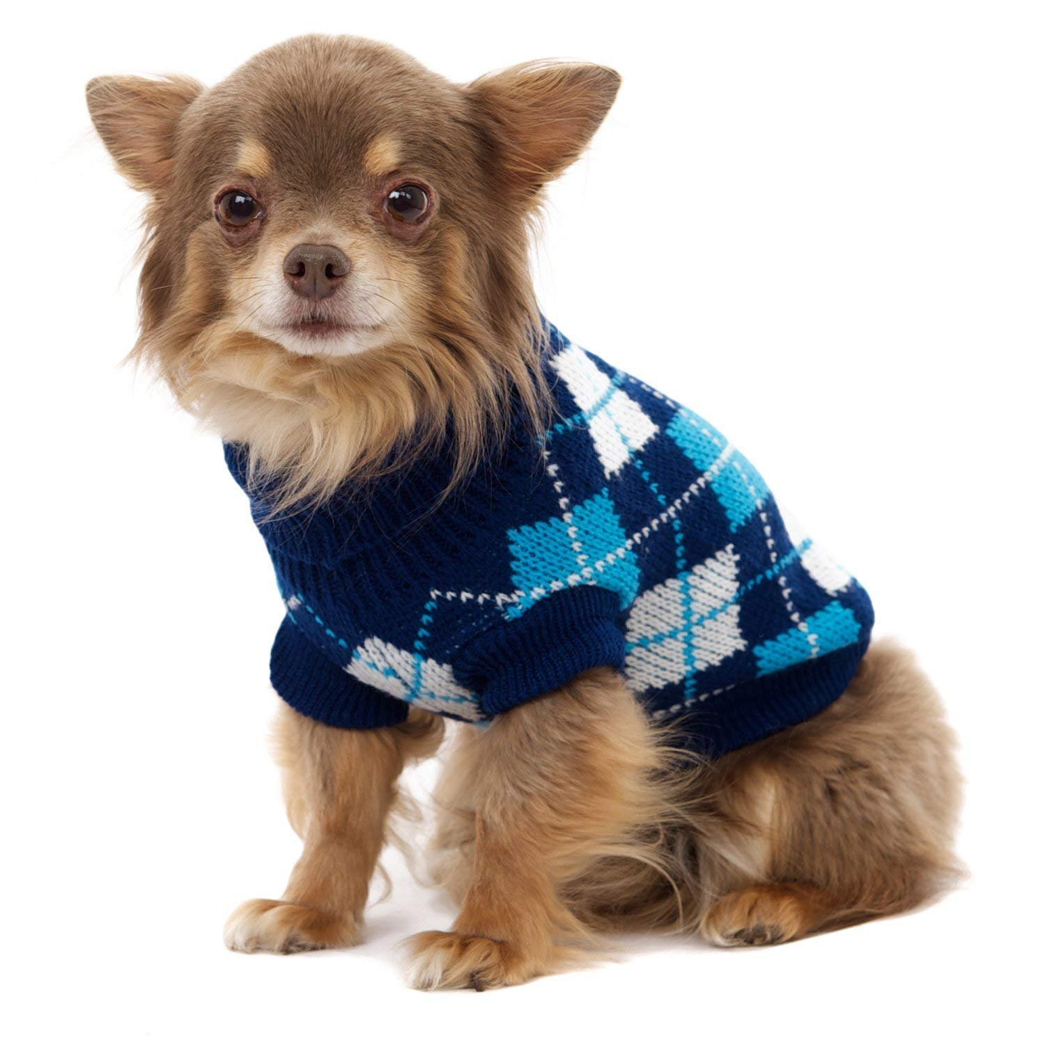 "UrbanPup Blue Argyle Sweater (X-Small - Dog Body Length: 8"" / 20cm)"