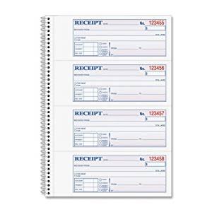 """Wholesale CASE of 20 - Adams Wirebound Money/Rent Receipt Books-Money/Rent Receipt Bk,Spiral,2-Part,7-5/8""""x11"""",200/BK"""