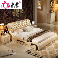 MIHE Fashion design luxury leather bed for bedroom furniture