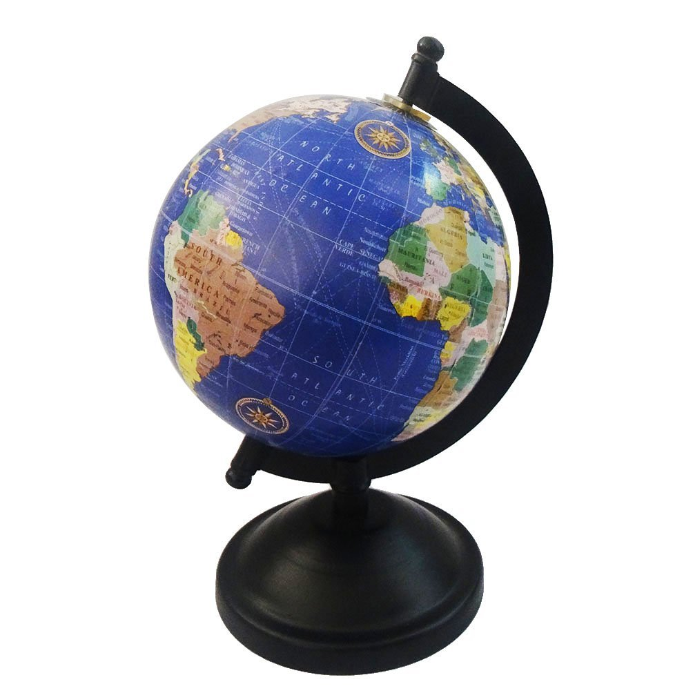 Get Quotations · World Map Globe Antique Style Round Shape 5u201d Ball 8u201d Tall  Standing Blue Table