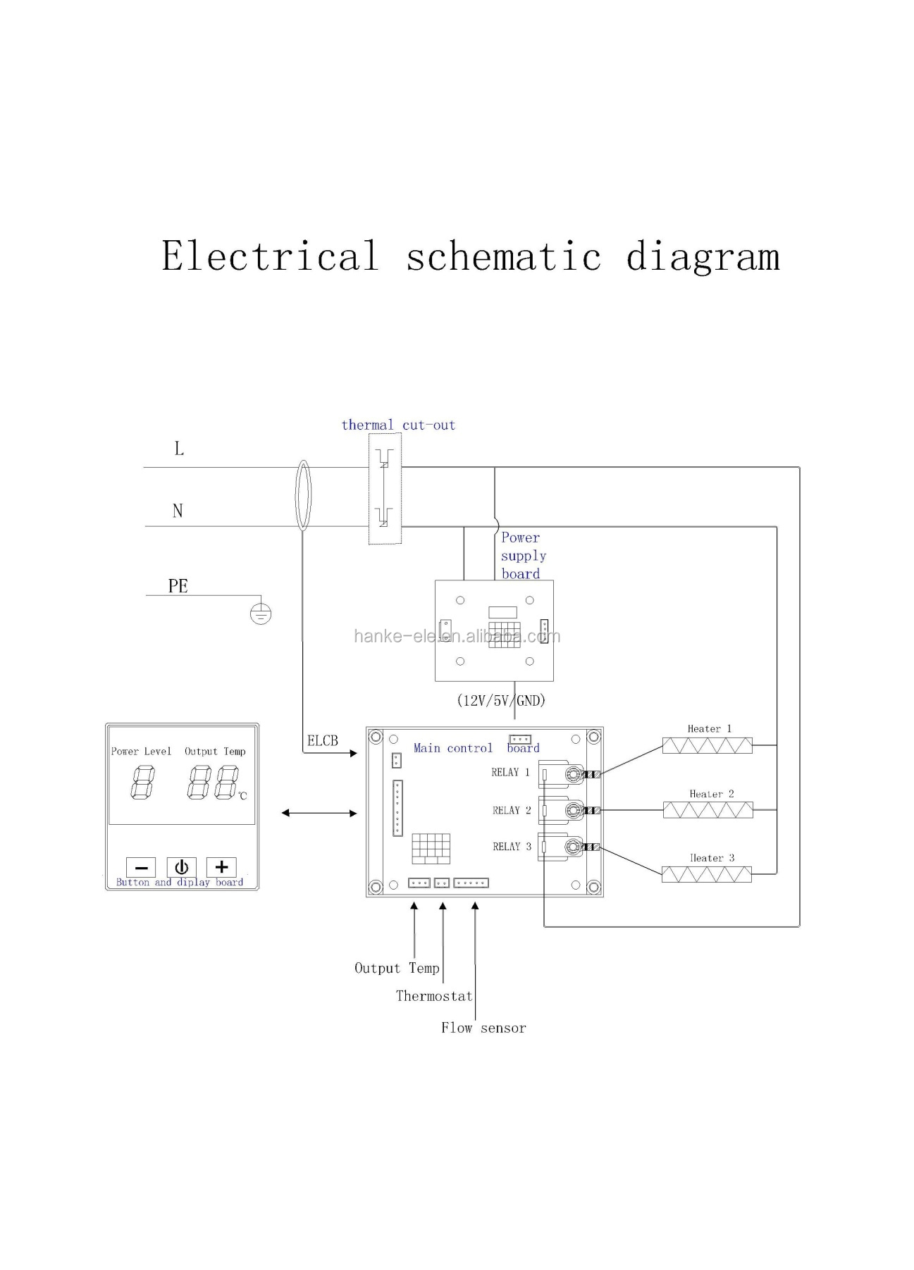 Single Phase Two Relay Water Heater Electronic Control Circuit Board Connection Diagram Of Elcb