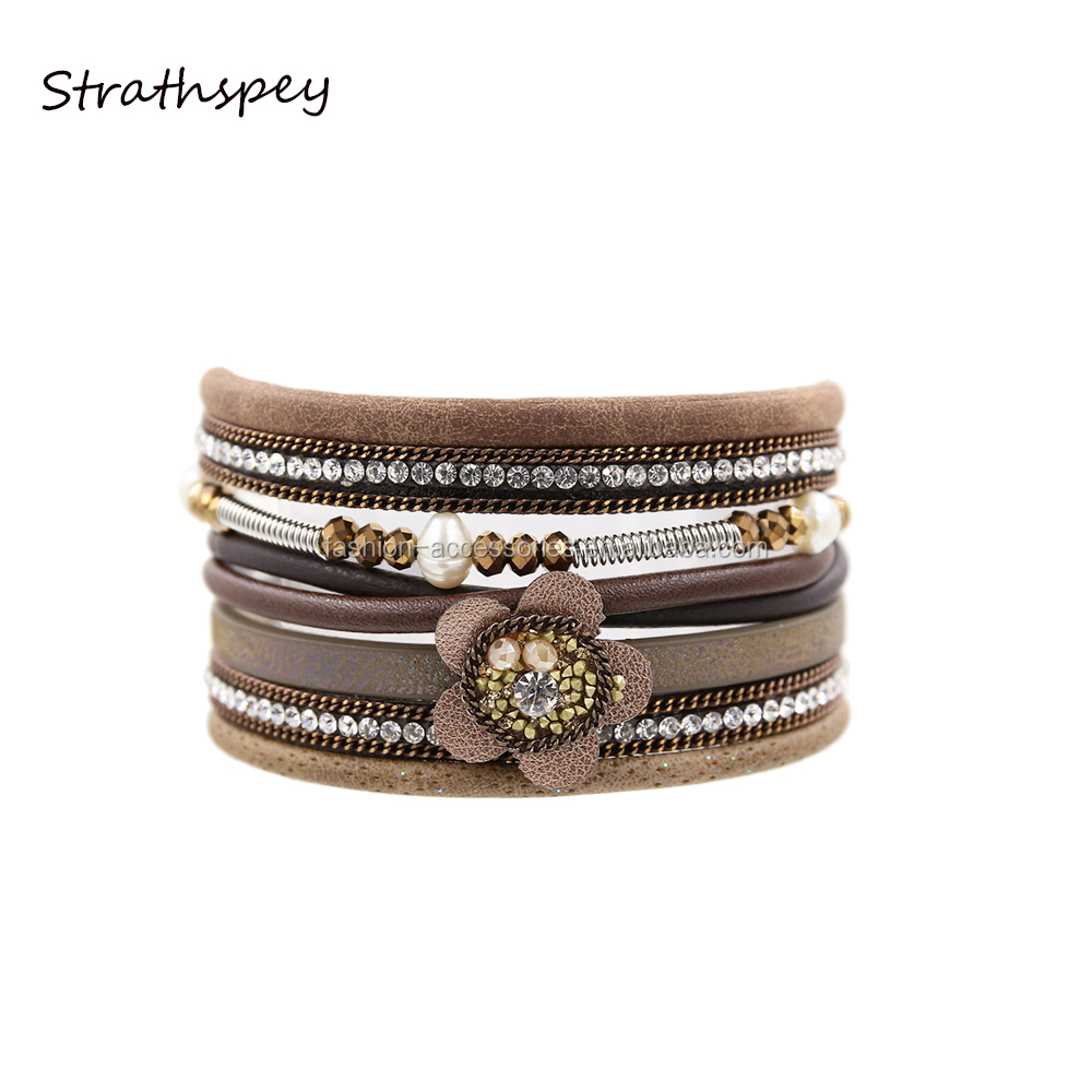 Fashion Boho Women PU Leather Flower Rhinestone Pearl Elastic Crystal Beads Magnetic Leather Charm Bracelet Wholesale