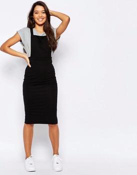 4a073d435e50 Youthful Black Cross Strap Back Dress Column Pinafore Pencil Dress In Midi  Length Slim Girls Clothing