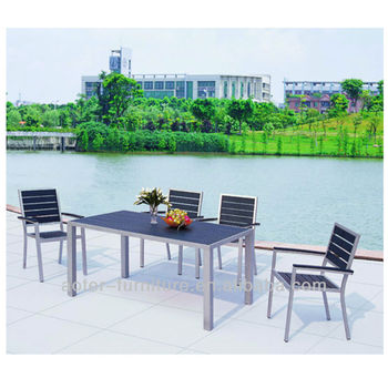 Aluminum wooden dining outdoor furniture table and chair set