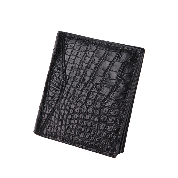 Men's short really crocodile leather business casual clutch man two fold wallet