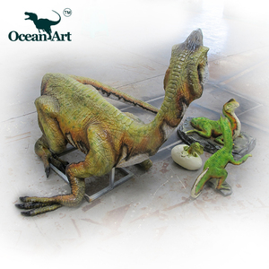 OAH5180 Hot Sale Funny Fiberglass Little Dinosaur Lays Eggshells for kindergarten