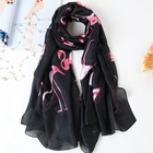Promotional Red Flamingo Printing Black Silk Long Scarf