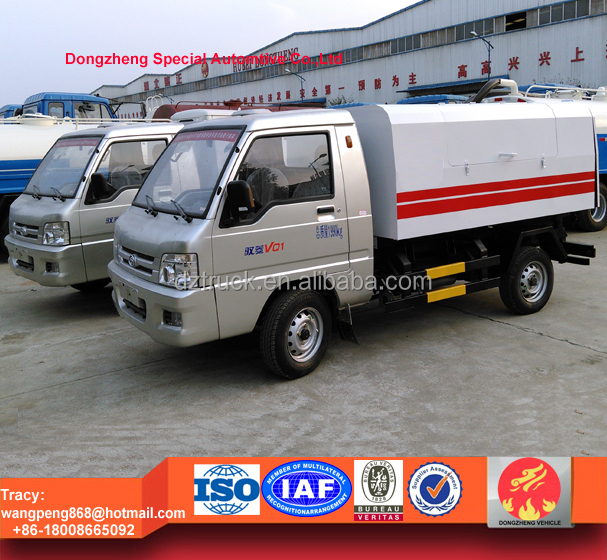 Foton mini hermetic tipper garbage truck, 2ton garbage disposal truck for sale