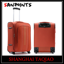Fashion beautiful orange color trolley suitcase trolley soft case luggage set for 2 wheels
