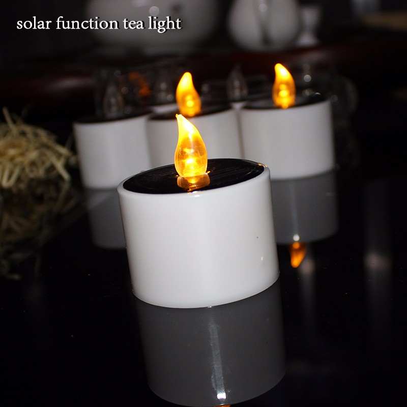 Yellow Solar Battery Operated Candles Flameless Electric Function Tea Lights Plastic