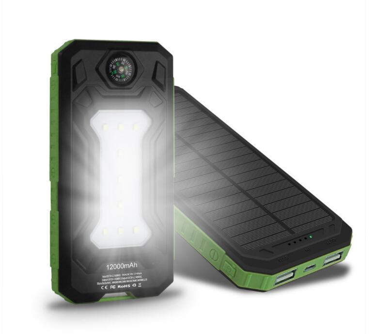 OEM solar portable battery charger 10000mAh battery power bank With LED Lamp power bank 10000 mah