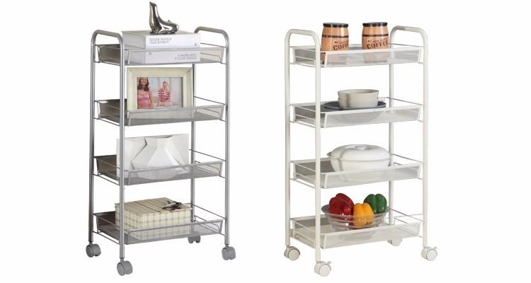 Mesh Wire Rolling Cart Multifunction Utility Cart Kitchen Storage Cart On  Wheels, Steel Wire Basket