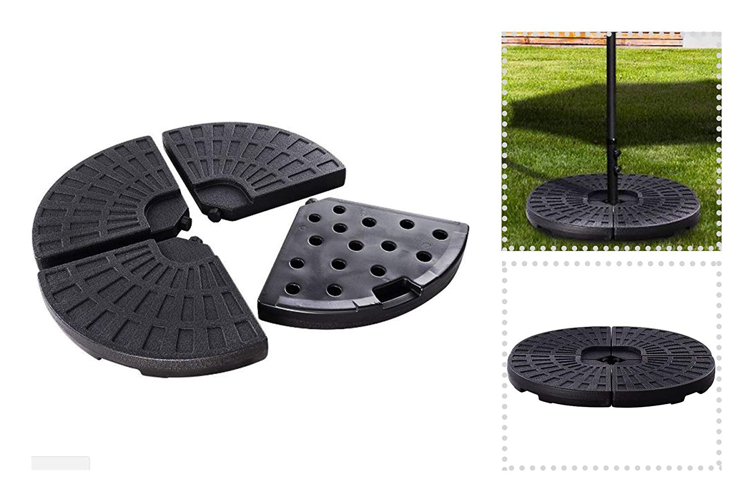 Get Quotations · EXXtra Store 4 Plate Umbrella Base Patio Filled Base Stand  Weights Sand Or Water Offset +
