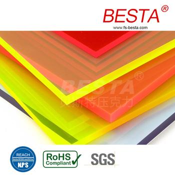 Cast Acrylic Sheet Fluorescent Glossy Neon Plastic Sheet
