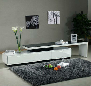 Modern White High Gloss Mdf Tv Stand With Tempered Glass Buy