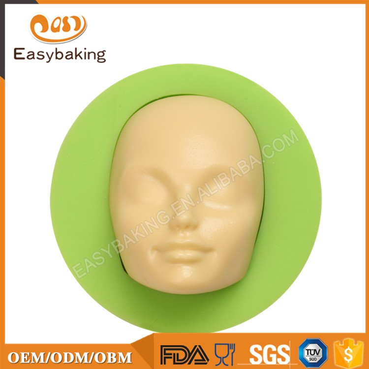 ES-1607-6 Human Face Shaped 3d Silicone Cake Fondant Molds