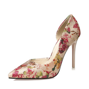 korean style open side dress pumps flower printed leather women high heels shoes 10cm