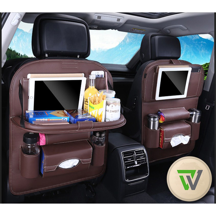 Pu Leather Car Storage Back Seat Organizer With Table Tray Buy