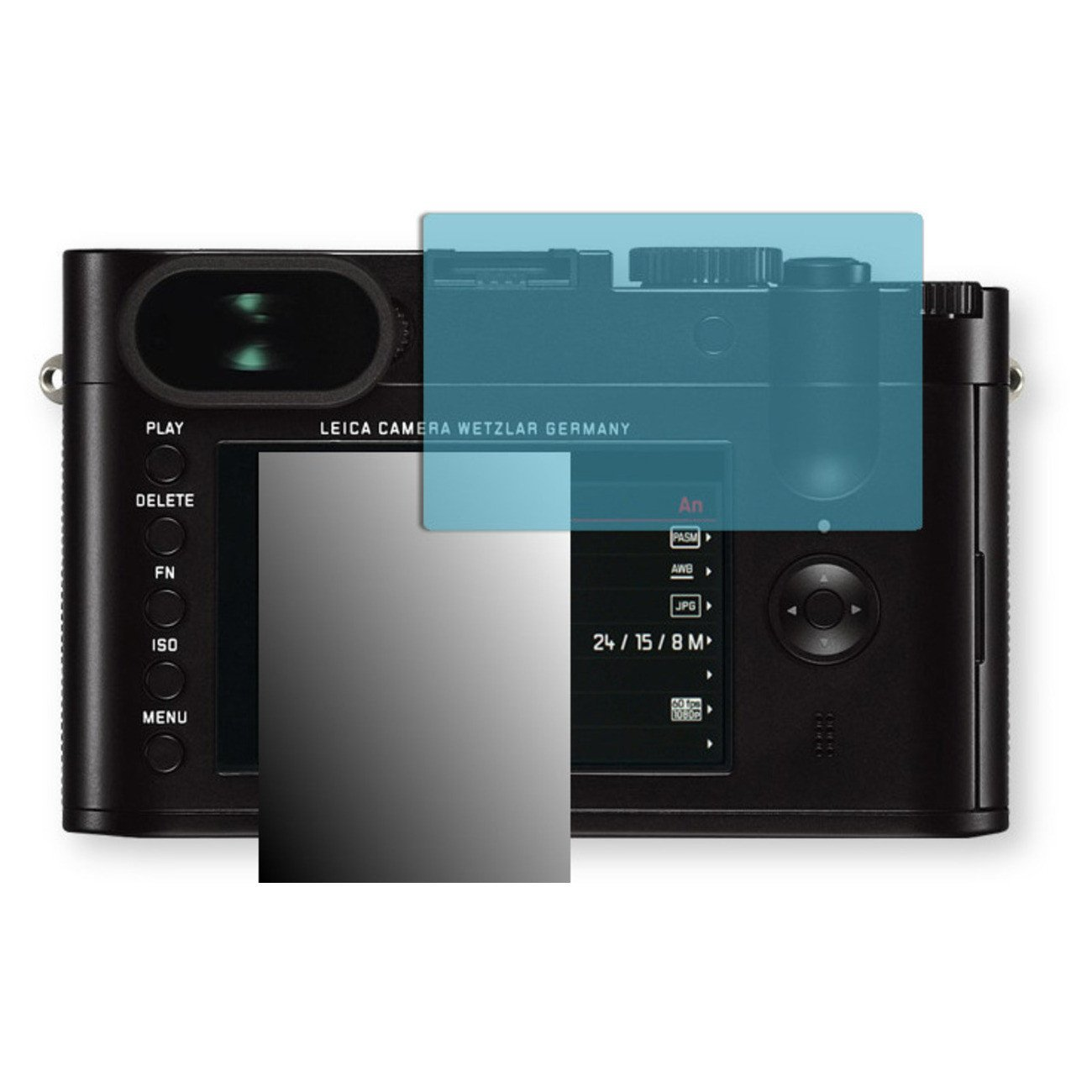 Golebo Screen Film for Privacy protection blue for Leica Q - PREMIUM QUALITY