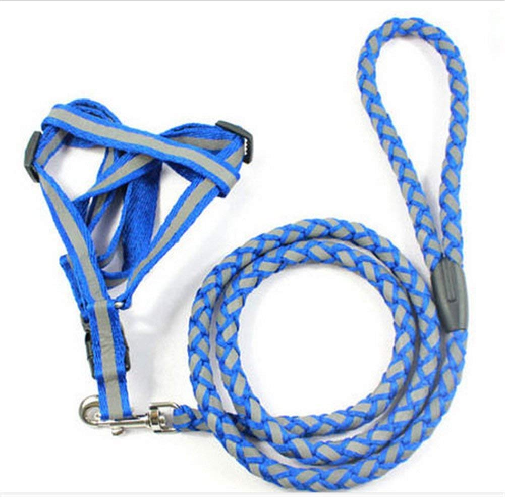 Puppy-league® Reflective Braided Nylon Pet Leashes Easy Tension Adjustable 2-in-1 Dog Leashes and Harness, Leash 120cm Length.