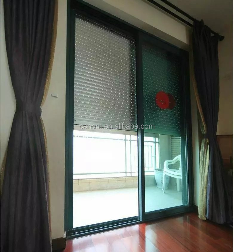 Horizontal roller shutter aluminum window / roll up storm shutters