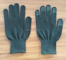 hot polyester/cotton working gloves with pvc dots on finger