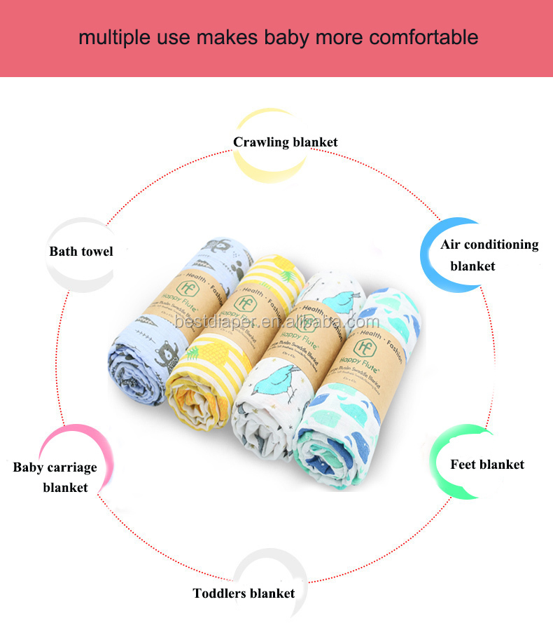 HappyFlute China Manufacturer Baby Cotton Muslin Swaddle Blanket muslin baby blanket