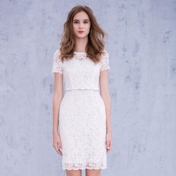 6596287bf820 2017 latest design white Lace Cocktail Short Sleeve Prom Dresses vestidos  de formatura robe de soiree