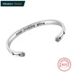 Inspirational Keep Going Sterling Silver 925 Bracelet for Women Engraved Cuff Bangle