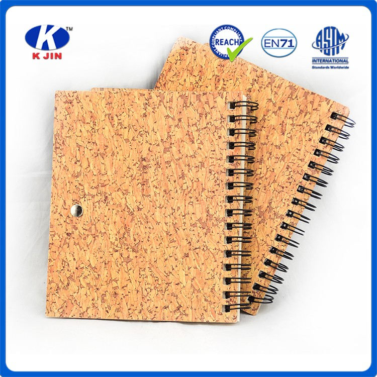 2016 new style high quality recycled kraft paper cork material school gift notebook with pen