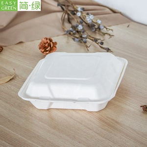 Easy Green 100% biodegradable compostable sugarcane bagasse paper disposable clamshell takeaway food containers lunch bento box