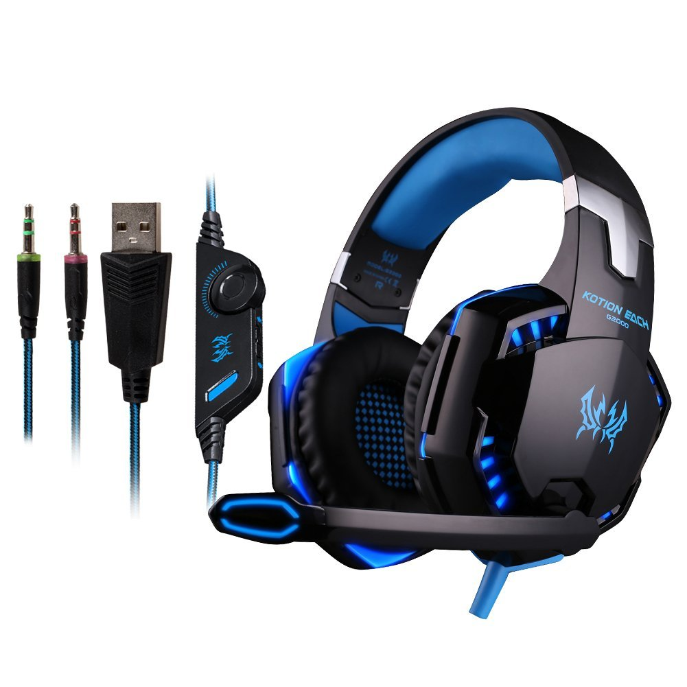 Gaming Headset,Stereo Headphone KOTION EACH G2000 USB 3.5mm Game Gaming Over-Ear Headphones Earphone Headband with Mic Stereo Bass LED Light for PC Computer Laptop Mobile Phones - Blue & Black