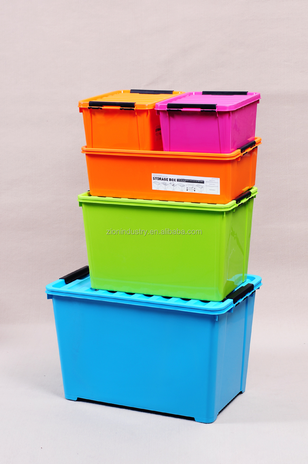 Recycled plastic storage boxes - 8 5l Orange Plastic Storage Box
