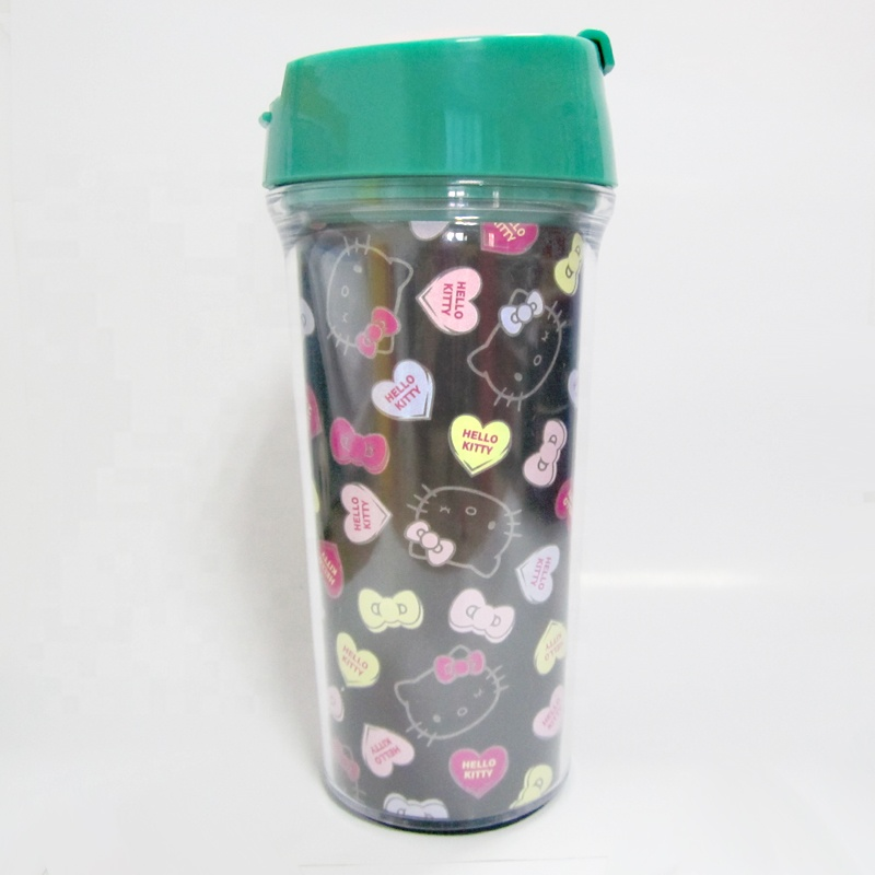 Hello Kitty 530ml double wall travel mugs with paper insert plastic tumbler