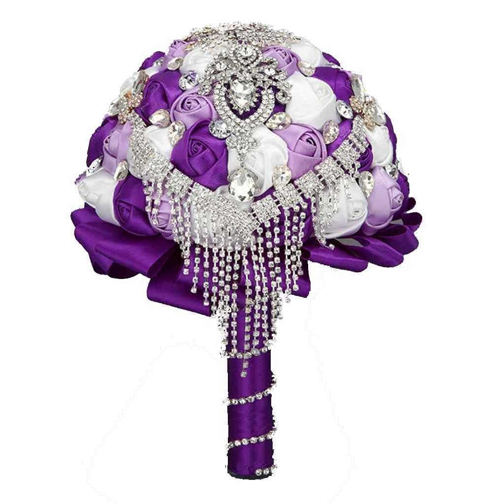 Cheap blue and purple flower bouquets find blue and purple flower get quotations wedding bouquets bride hand hold flower rhinestone tassel brooch flower purple izmirmasajfo