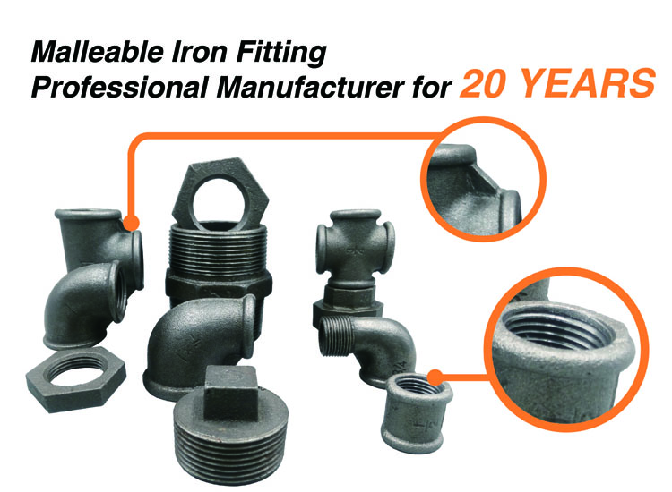 Galvanized malleable cast iron pipe fittings banded
