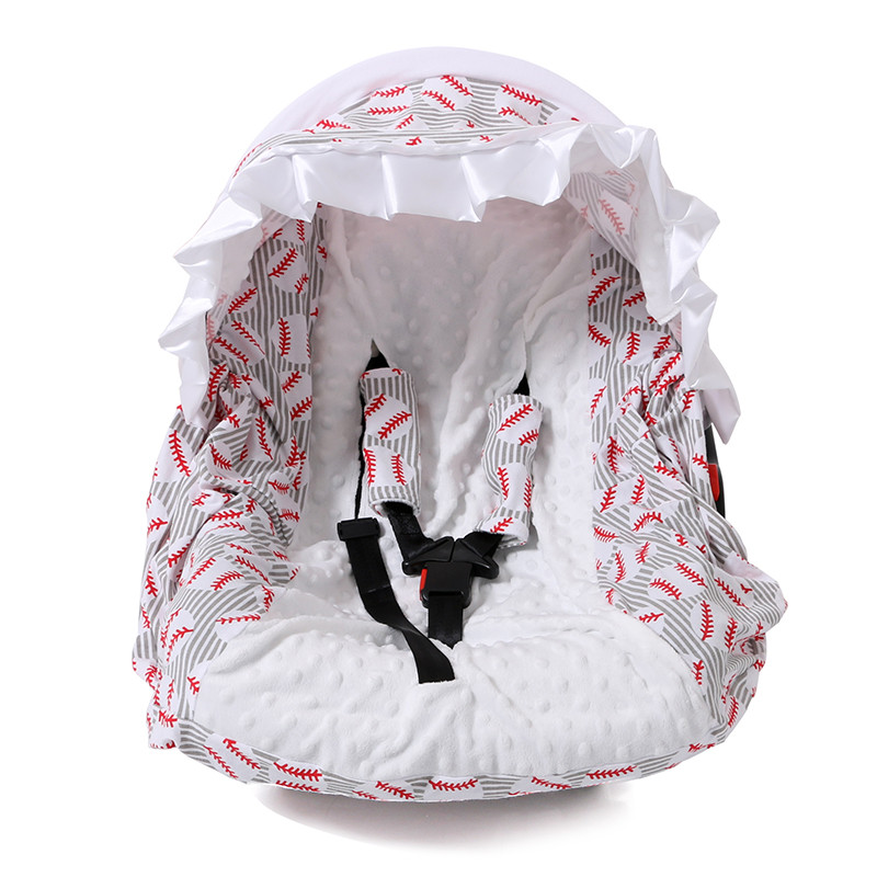 2017 maternity clothes products warmer windproof football printed wool trolley canopy in baby seat