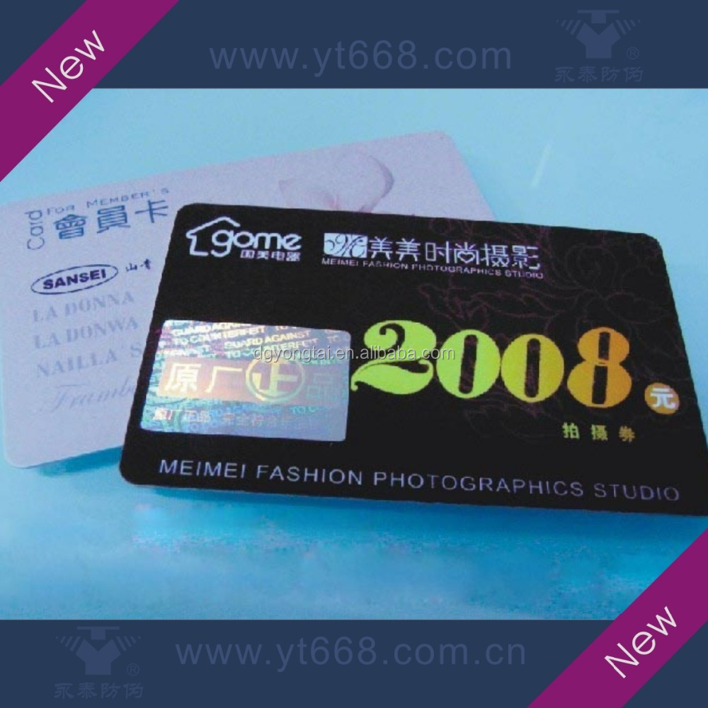 Bespoke black color hot stamping hologram stickers cards with double sides printing