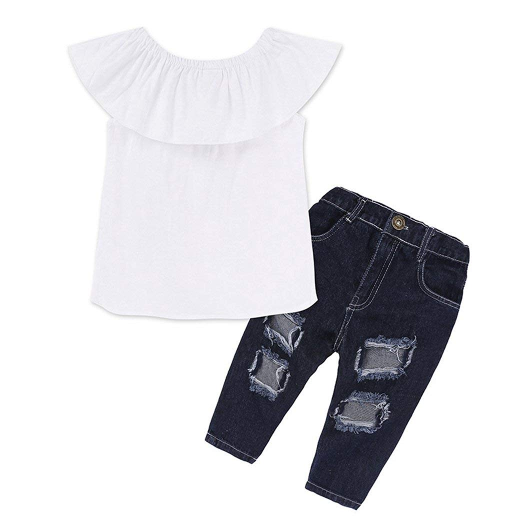 7a51e5d1d6285 Get Quotations · XWB Toddler Baby Girl 2 Pcs Off Shoulder Crop Tops+Hole  Denim Jeans Outfits Clothes