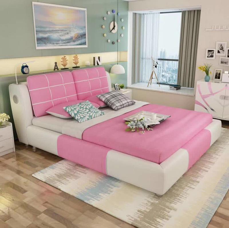 Pink Color Modern Fabric Princess Bedroom Set Girls Beds - Buy Girls ...