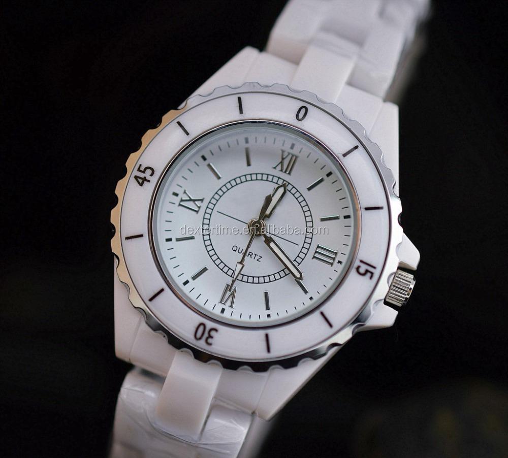 barato blanco de cermica impermeable de los relojes para mujeres