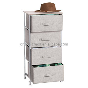 Fabric 4-Drawer Storage Organizer Dresser for Clothing, Sweaters, Jeans, Blankets - Linen