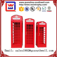 Metal antique london red telephone booth